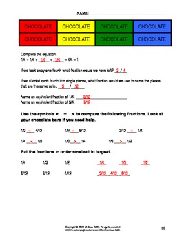Chocolate Bar Fractions ~ Comparing & Equivalent Fractions ~ Answer Key Included