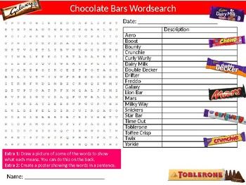 Chocolate Bars Wordsearch Sheet Starter Activity Keywords Food Health