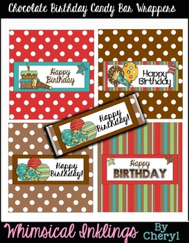 Chocolate Birthday Candy Bar Wrappers