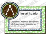 Bulletin Board Headers: brown, blue & green polka dots (editable)