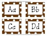 Word Wall Chocolate Brown Polka Dot Alphabet Tags Classroom Decor
