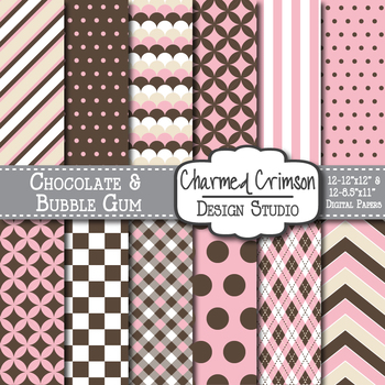 Chocolate Brown and Bubble Gum Pink Digital Paper 1029