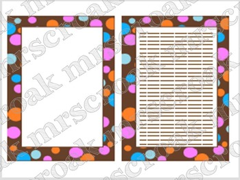 "Paper: Chocolate Brown with Colorful Polka Dots (8.5"" x 11"" sheet)"