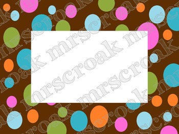 Labels: Chocolate dizzy polka dots, 10 per page