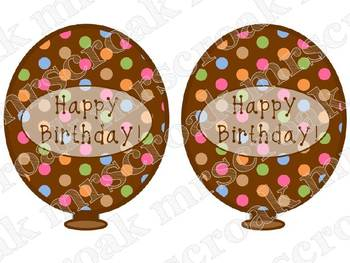 Birthday Balloons: Chocolate brown with polka dots