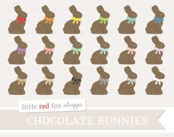 Chocolate Bunny Clipart; Easter, Candy, Dessert