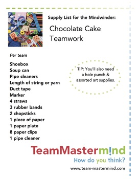 Chocolate Cake Teamwork ~ A delicious teamwork lesson