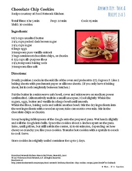 Chocolate Chip Cookie Craze -A multiplying fractions by whole numbers activity