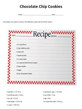 Chocolate Chip Cookie Recipe Conversion