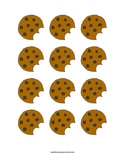 Chocolate Chip Cookie With a Bite Cutouts