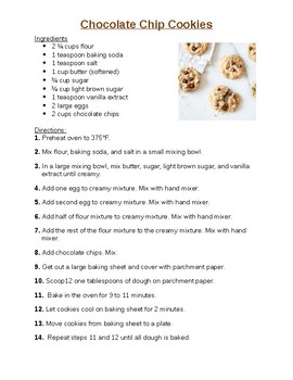 Chocolate Chip Cookies Cooking Activity
