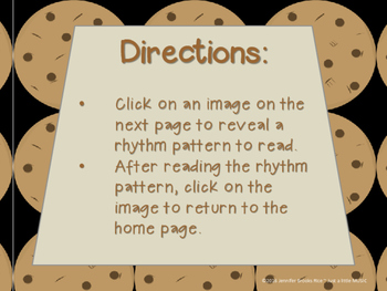 Chocolate Chip Cookies--Rhythm Reading Practice Interactive Game {ta-ah)