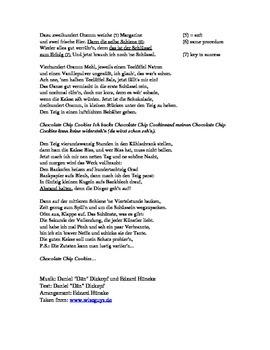 Chocolate Chip Cookies / Wise Guys / German Song Sheet / Deutsch