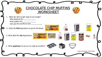 Chocolate Chip Muffins + Comprehension Visual Recipe with REAL pictures