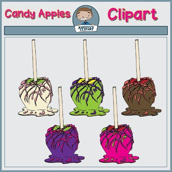 Chocolate Coated Candy Apples Clipart