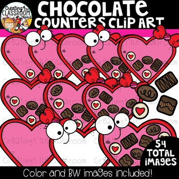 Chocolate Counters Clipart Bundle {Valentine's Counting Clipart}