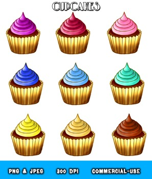 Chocolate Cupcakes Assorted Frosting Colors Clipart Digital Graphics
