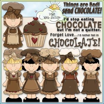 Chocolate Cuties Clip Art - Girls Clip Art - CU Clip Art & B&W