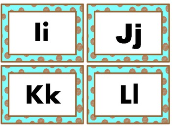 Chocolate Dots With Aqua Word Wall headers and Word Wall Words