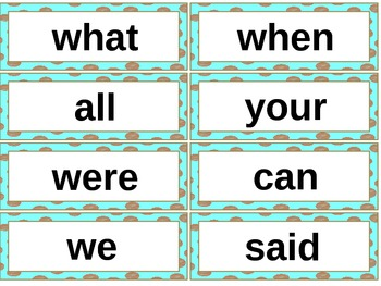 Chocolate Dots with Aqua Word Wall Words
