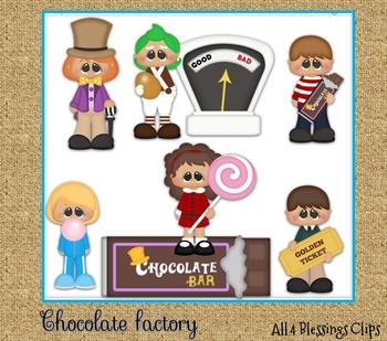 Chocolate Factory CLIPART Clip Art Cu Ok ~ Wonka Movies Kids Children Golden