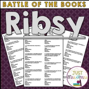 Ribsy Battle of the Books Trivia Questions