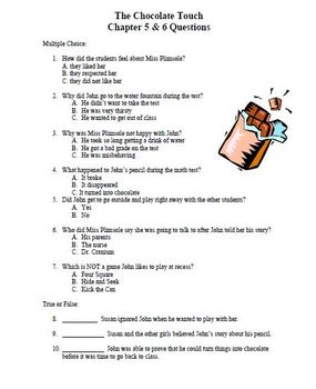 Chocolate Fever & Chocolate Touch reading comprehension units