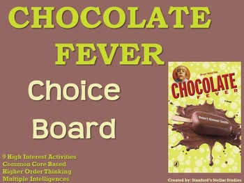 Chocolate Fever Choice Board Novel Study Activities Menu B