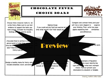 Chocolate Fever Choice Board Novel Study Activities Menu Book Project