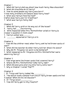Chocolate Fever Comprehension Questions 2.RL.1