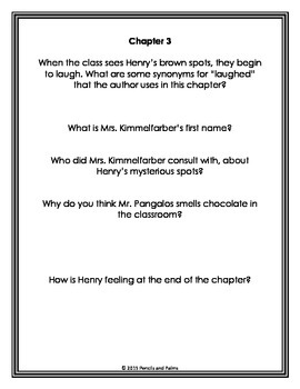Chocolate Fever Guided Reading Comprehension Questions