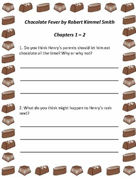 Chocolate Fever - Guided Reading Questions and Vocabulary List *Updated*