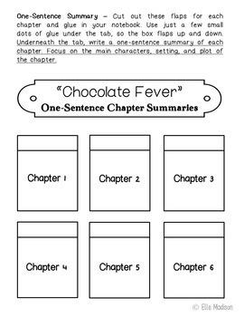 Chocolate Fever Interactive Notebook Novel Unit Study Activities, Book Report