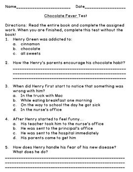 Chocolate Fever (Level O) Comprehension Questions and Book Quiz