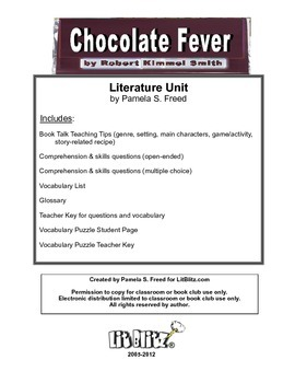 Chocolate Fever Literature Unit or Book Club selection