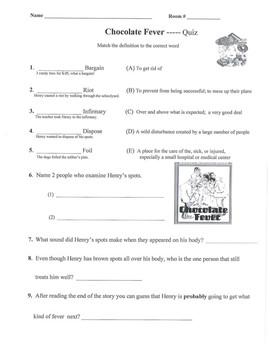 Chocolate Fever Novel Quiz Reflective Writing Math Atlas wrap up