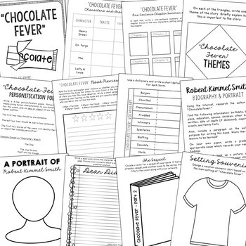 Chocolate Fever Novel Unit Study Activities, Book Companion Worksheets, Project