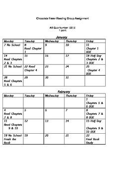 Chocolate Fever Questions, Vocabulary, Sample Calendar, and Key