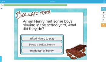 Chocolate Fever Reading Comprehension DIGITAL Task Cards BOOM CARDS