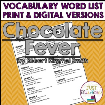 Chocolate Fever Vocabulary Word List