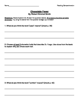 Chocolate Fever by Robert Kimmel Smith - Comprehension Questions