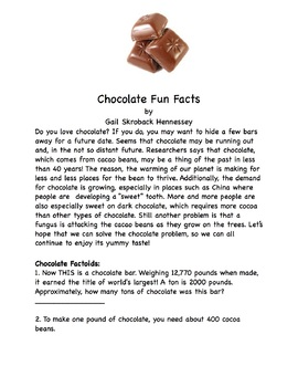 Chocolate Fun Facts(Interactive Notebook Activity)Distance Learning