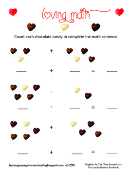 Chocolate Heart Candies Math Addition and Subtraction - Va