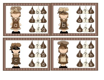 Chocolate Kisses ABC Clothespin Clip Cards Alphabet Sequencing Literacy Center