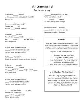 Chocolate Lyrics- Jesse y Joy
