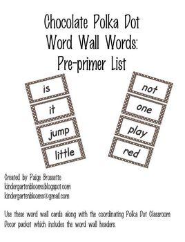 Chocolate Poika Dot Word Wall Words Pre-primer