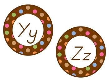 Word Wall Headers: Chocolate Brown polka dots, D'Nealian