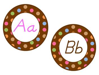 Word Wall Headers: Chocolate Brown polka dots, D'Nealian