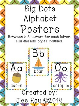 Chocolate Rainbow Circles Alphabet Posters