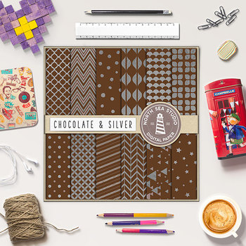 Chocolate & Silver Digital Paper, Silver Patterns, Peach Backgrounds